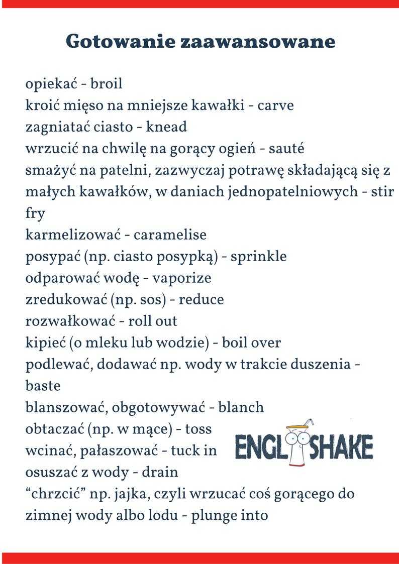 Gotowanie Po Angielsku Slowka Na 3 Poziomach Zaawansowania